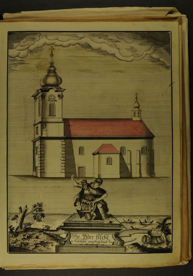 Fotó: Városi plébánia templom 1774-ben (Főszékesegyházi Könyvtár, Kalocsa. Batthyány album)