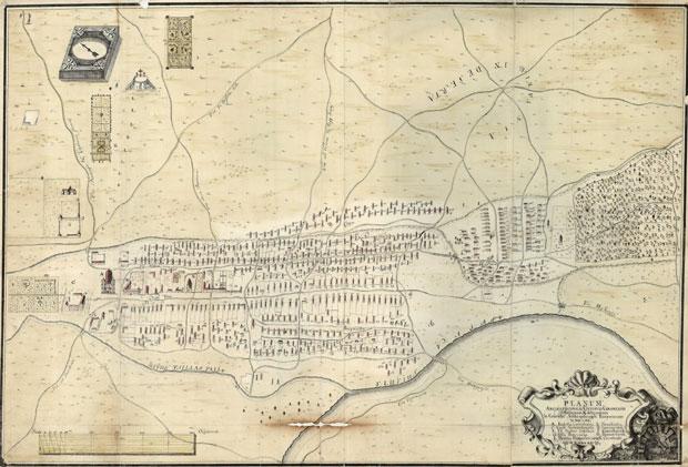 Fotó: Kalocsa térképe 1772-ből (Főszékesegyházi Könyvtár, Kalocsa. Batthyány album)