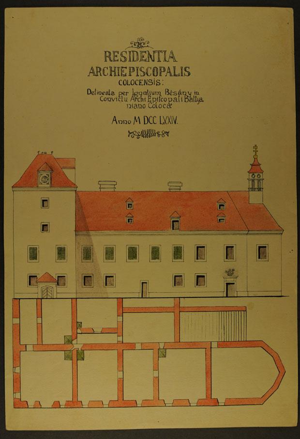 Fotó: Batthyány József érsek által épített érseki lak 1774-ben (Főszékesegyházi Könyvtár, Kalocsa. Batthyány album)