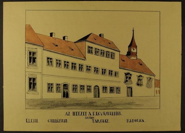 Fotó: A piarista rendház és gimnázium fő utcai homlokzata 1774-ben (Főszékesegyházi Könyvtár, Kalocsa. Batthyány album)