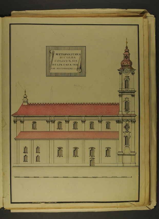 Fotó: Székesegyház északi homlokzata 1774-ben (Főszékesegyházi Könyvtár, Kalocsa. Batthyány album)