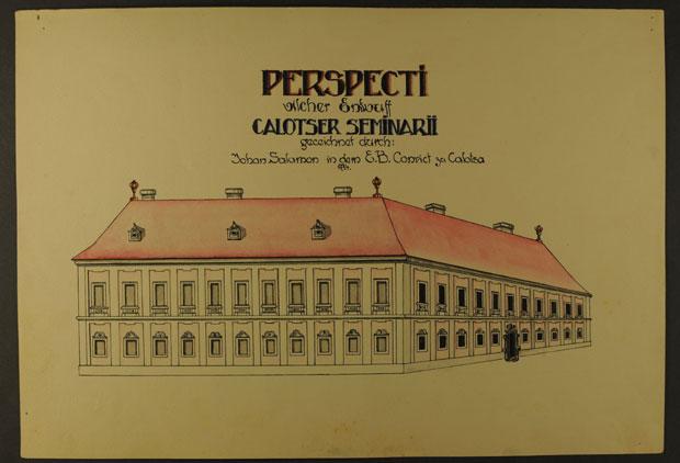 Fotó: Nagyszeminárium épülete 1774-ben (Főszékesegyházi Könyvtár, Kalocsa. Batthyány album)