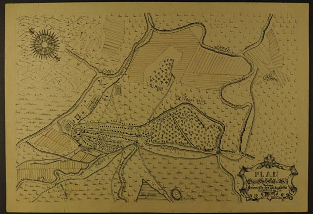 Fotó: Kalocsa és környékének térképe 1774-ből (Főszékesegyházi Könyvtár, Kalocsa. Batthyány album)