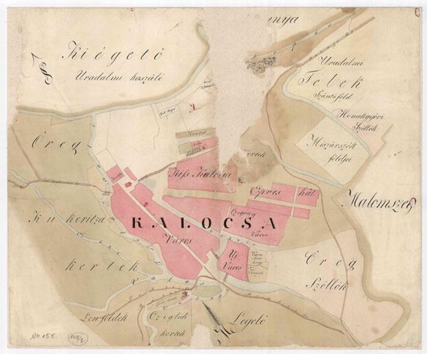 Fotó: Kalocsa beépített területe az 1820-30-as években (Kalocsai Főszékesegyházi Levéltár VIII.2.a. No.155.)