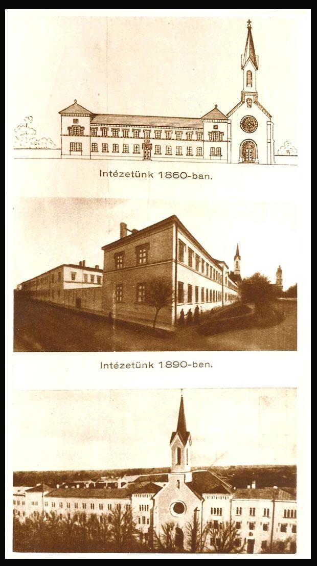 Fotó: A zárda és a zárdatemplom épülete 1860-ban.(Ismeretlen szerző korabeli rajza. Asbóth M. gyűjt.)
