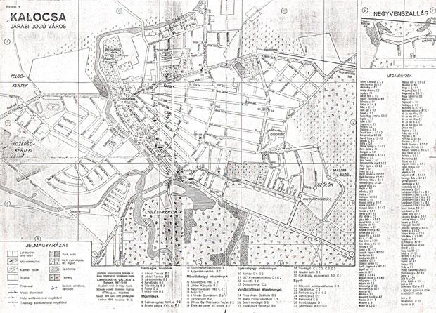 Fotó: Kalocsa 1967-es térképe (Kiad. a Cartographia Bp. 1967)