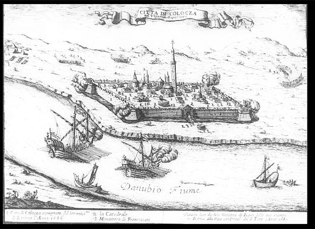 Fotó: Kalocsa látképe 1686-ban (Giacomo di Rossi metszete 1687-ből OSZK, Térképtár)
