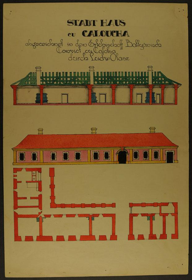 Fotó: Az első városháza 1774-ben (Főszékesegyházi Könyvtár, Kalocsa. Batthyány album)