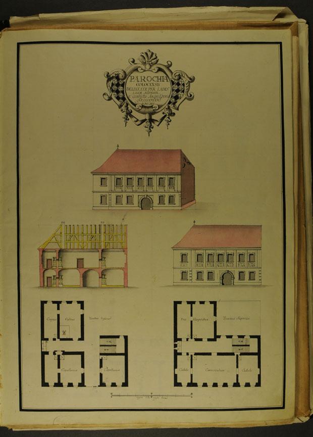Fotó: Plébánia 1774-ben (Főszékesegyházi Könyvtár, Kalocsa. Batthyány album)
