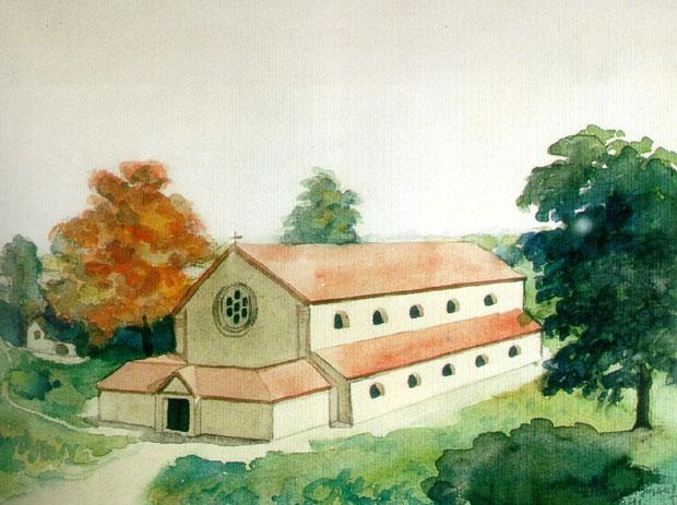 Fotó: Az első, Asztrik korabeli kalocsai székesegyház (Buri József festménye, Főszékesegyházi Könyvtár, Kalocsa.)