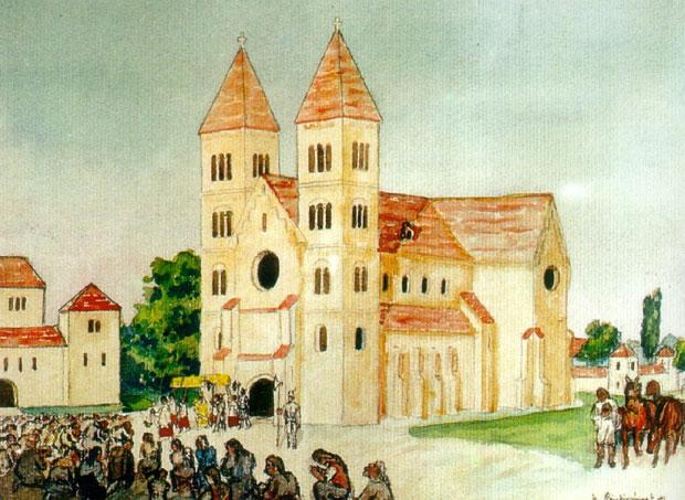 Fotó: A harmadik kalocsai székesegyház (Buri József festménye Főszékesegyházi Könyvtár, Kalocsa)