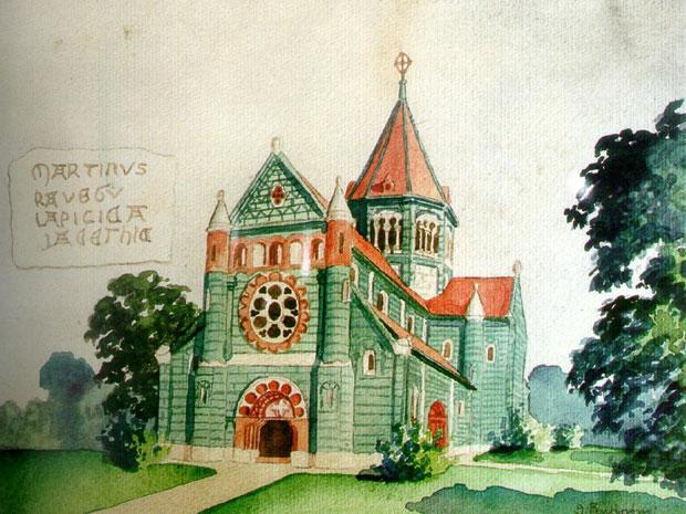 Fotó: A második kalocsai székesegyház (Buri József festménye Főszékesegyházi Könyvtár, Kalocsa)